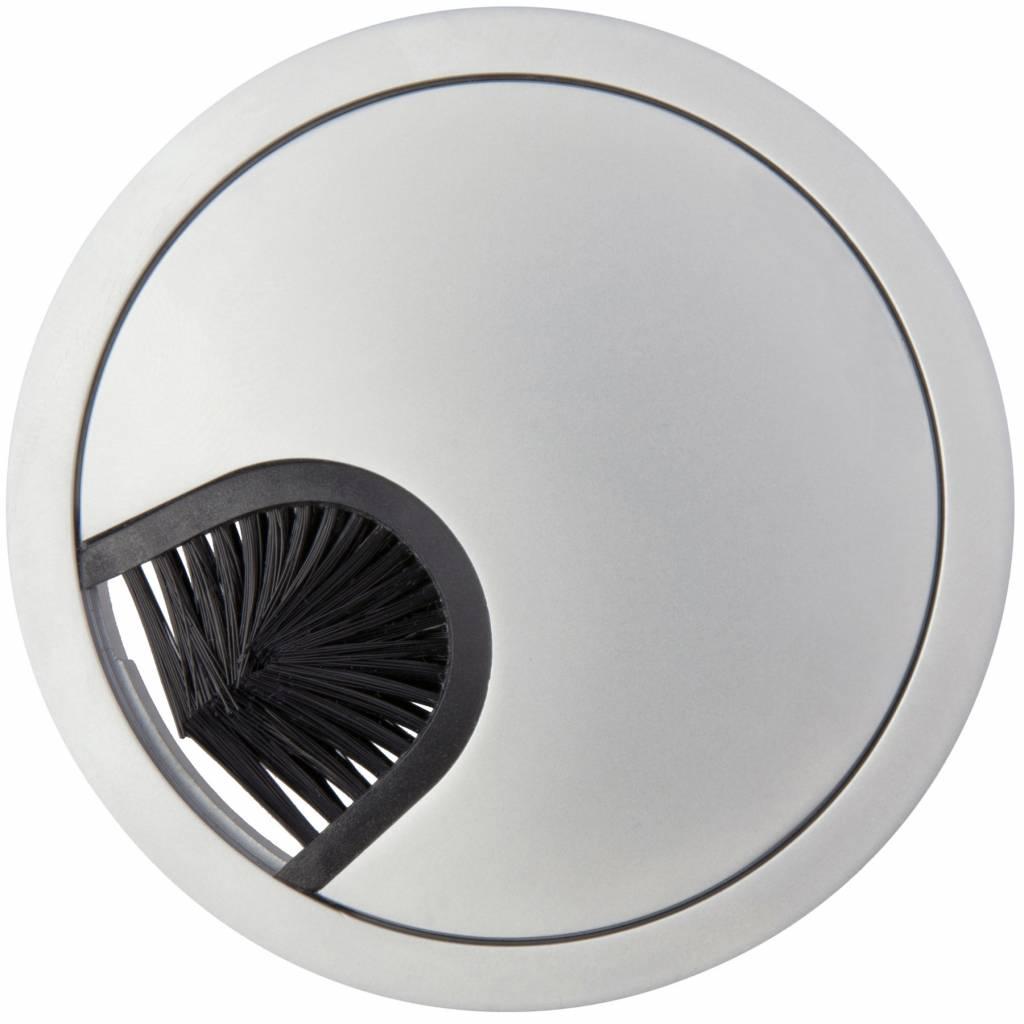 Kabeldoorvoer rond 2-delig laag met borstel aluminium