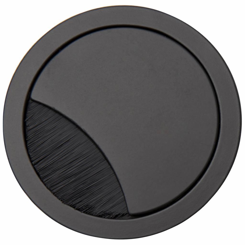 Kabeldoorvoer rond 2-delig brede borstel afsluiting zwart