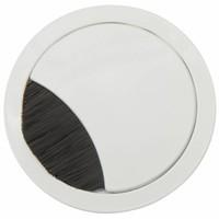 Kabeldoorvoer rond 2-delig met brede borstel afsluiting metaal wit