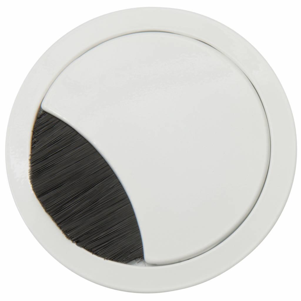 Kabeldoorvoer rond 2-delig brede borstel afsluiting wit