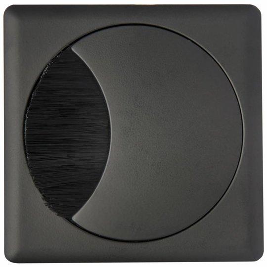 Kabeldoorvoer rond-vierkant 2-delig met brede borstel afsluiting metaal zwart