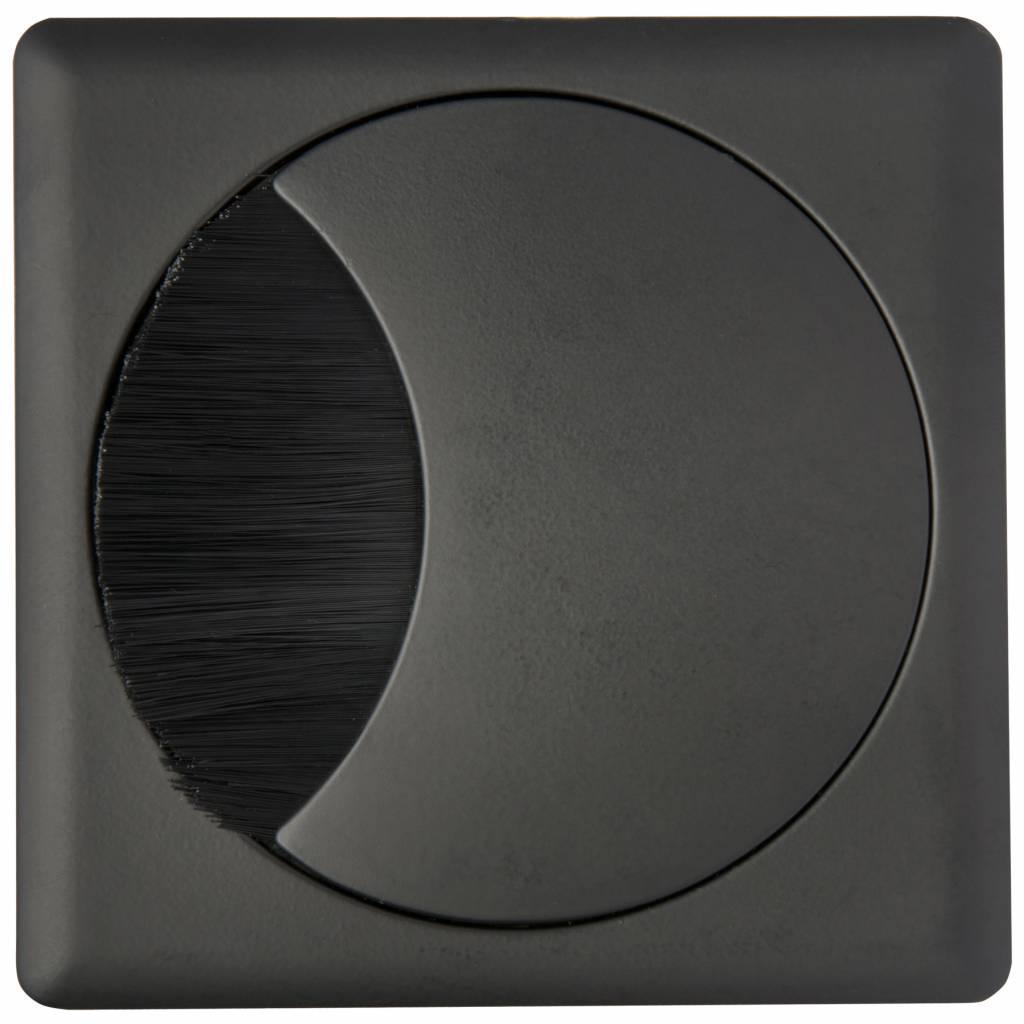 Kabeldoorvoer rond-vierkant 2-delig brede borstel zwart