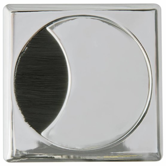 Kabeldoorvoer rond-vierkant 2-delig met brede borstel afsluiting metaal chroom