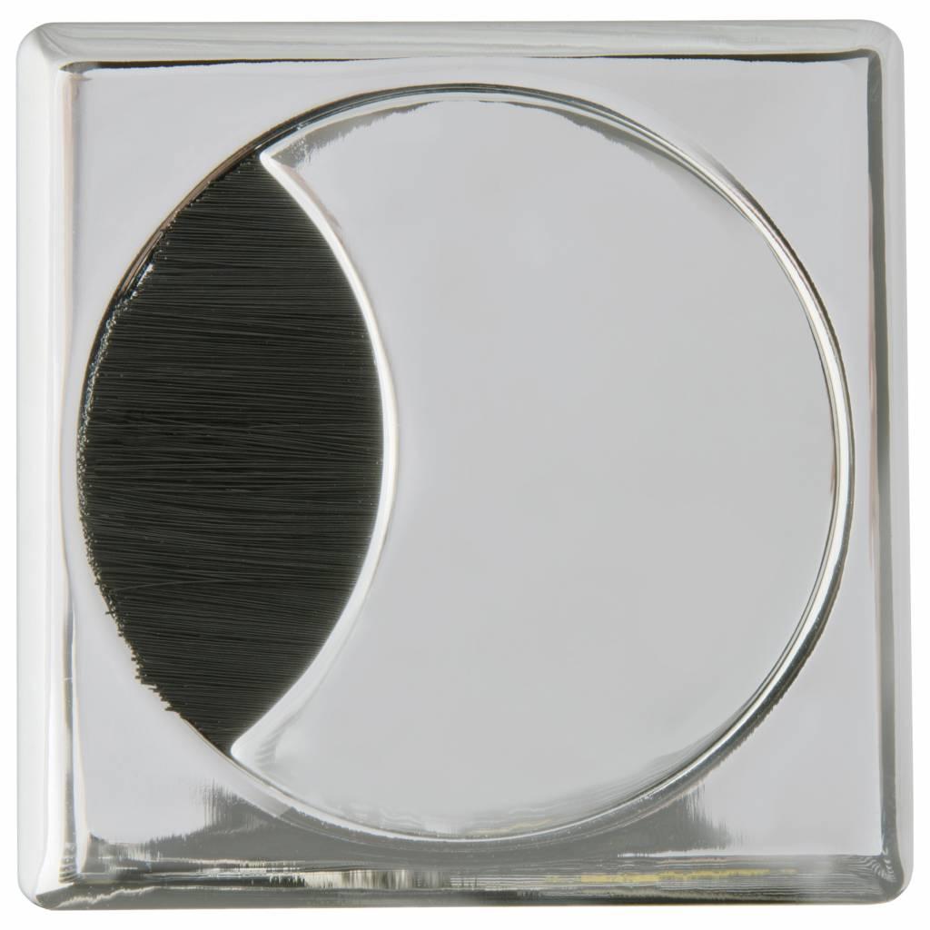 Kabeldoorvoer rond-vierkant 2-delig brede borstel metaal chroom