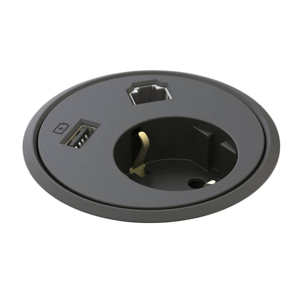Powerdot Power met Data en USB Charger Ø79 mm zwart