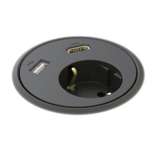 Powerdot Power met HDMI en USB Ø79 mm zwart