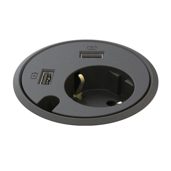 Powerdot Power met 2x USB Charger Ø79 mm zwart