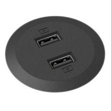 Powerdot Mini met 2x USB charger Ø51 mm zwart