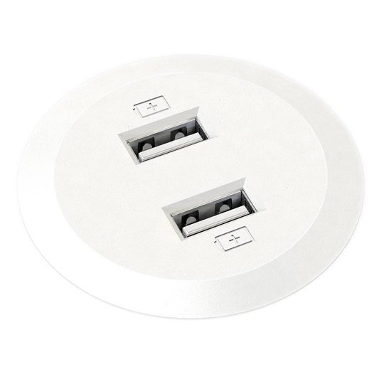 Powerdot Mini met 2x USB charger Ø51 mm wit