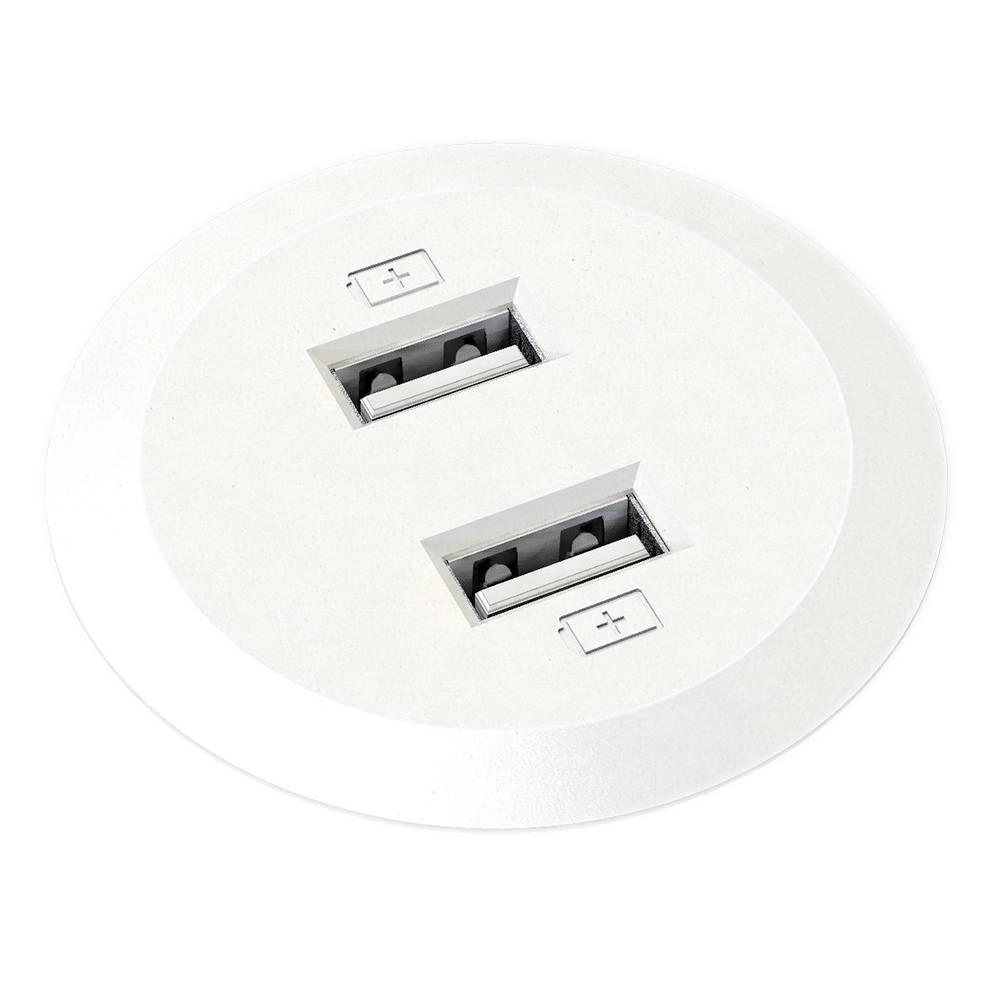 Powerdot Mini met 2x USB charger Ø51 mm wit
