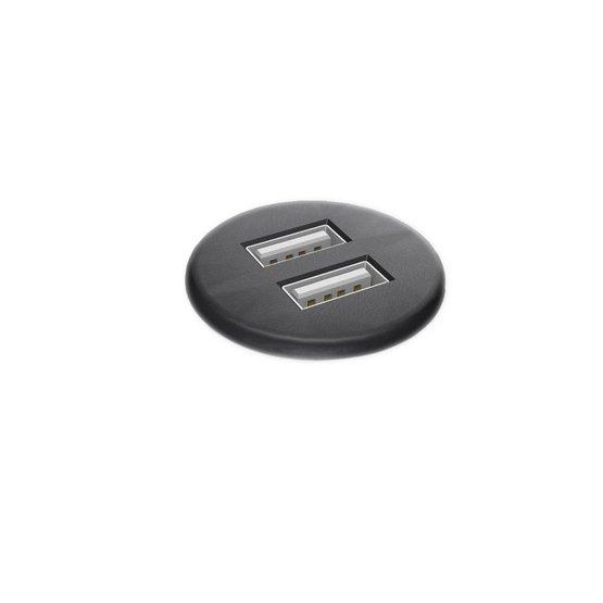 Powerdot Micro met 2x USB charger Ø30 mm zwart