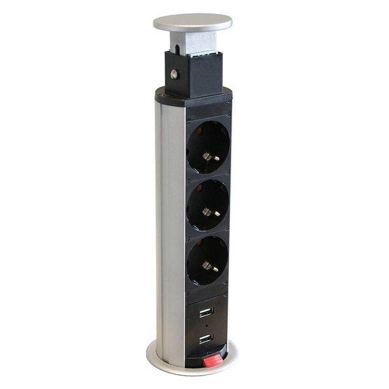 Axessline PopUp stekkerdoos met 3x stroom en 2x USB charger zilvergrijs