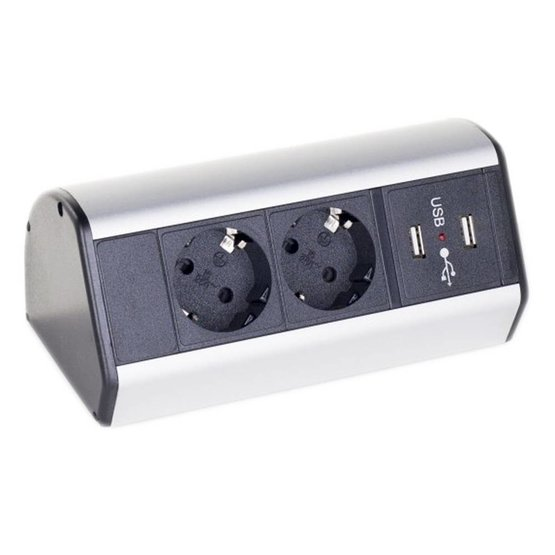 Götessons Office Power Dock USB stekkerdoos bureau - 2x stroom en 2x USB charger