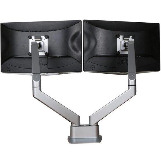 Ergopro dubbele monitor arm met gasveer zilvergrijs