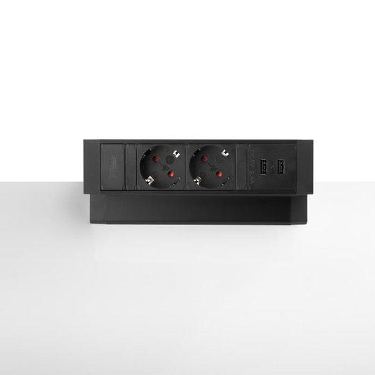 Ergopro Desk Up 2.0 - 2x 230V, 2x USB charger - Zwart