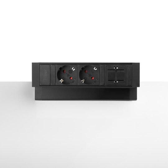 Ergopro Desk up 2.0 - 2x 230V & 2x keystone zwart