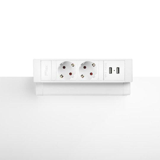 Desk Up 2.0 - 2x 230V, 2x USB charger - Wit
