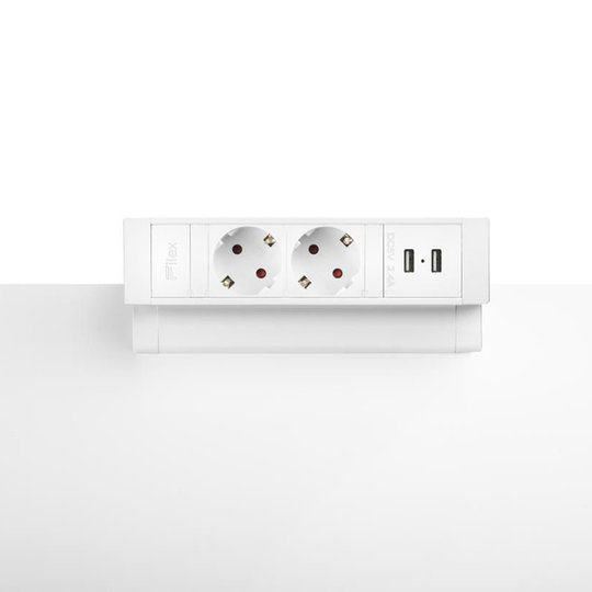 Ergopro Desk Up 2.0 - 2x 230V, 2x USB charger - Wit