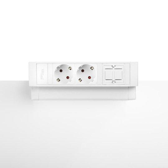 Ergopro Desk up 2.0 - 2x 230V, 1x keystone - Wit
