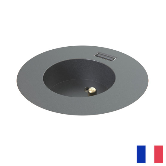 Powerdot Midi penaarde BE/FR (UTE) met USB-A zwart