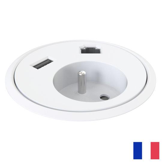 Powerdot penaarde BE/FR (UTE) met Data en USB-A wit
