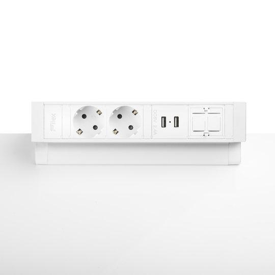 Ergopro Desk Up 2.0 - 2x power, 2x USB-A & keystone wit