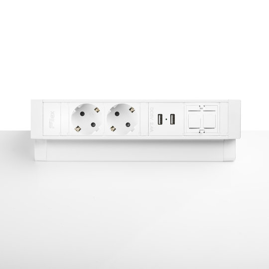 Ergopro Desk Up 2.0 - 2x power, 2x USB charger & 2x keystone wit