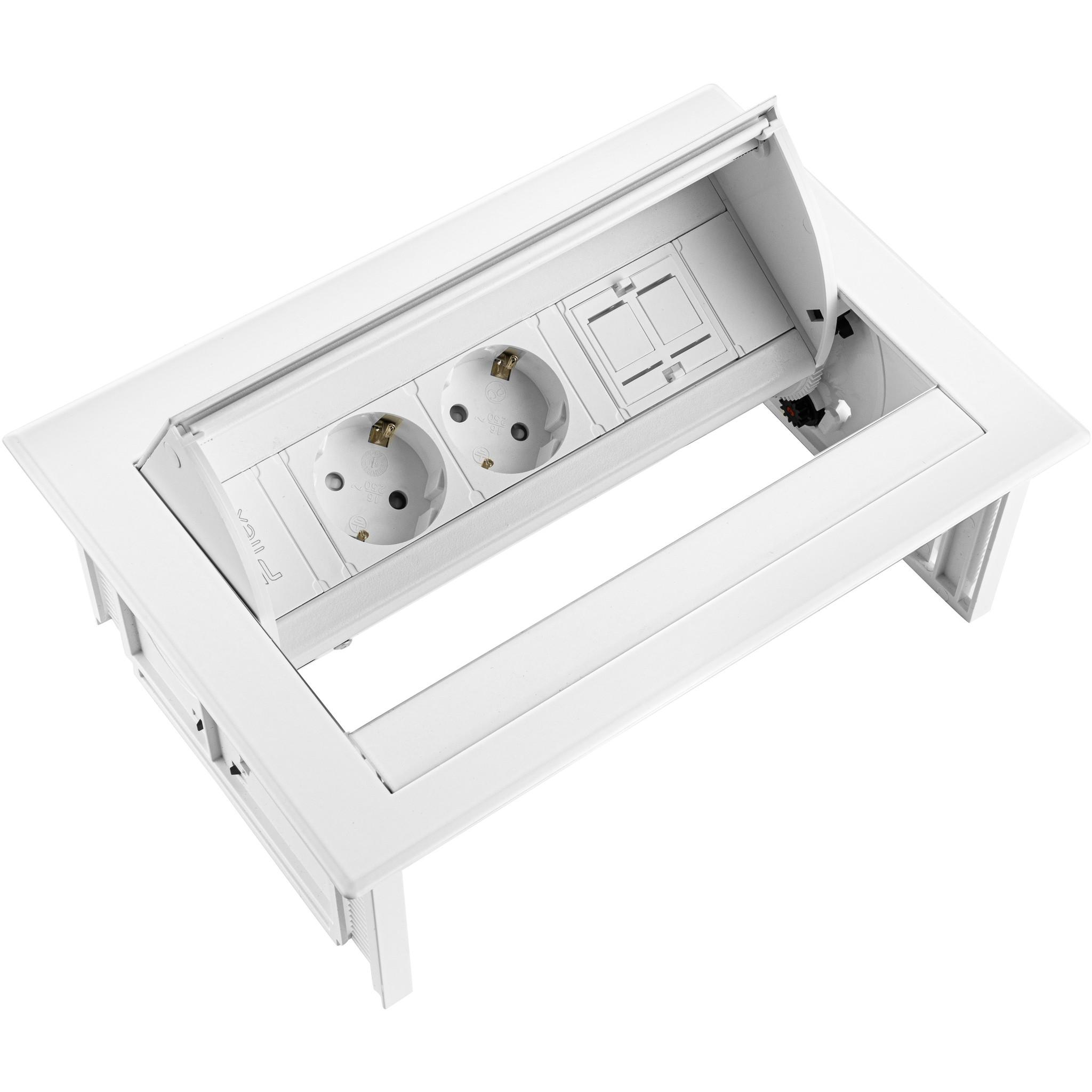 Ergopro Desk In - 2x power & 2x keystone wit