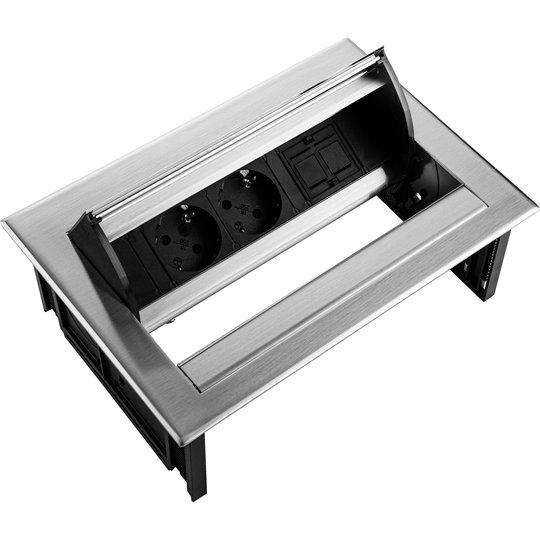 Ergopro Desk In - 2x power & keystone zilvergrijs
