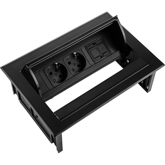 Ergopro Desk In - 2x power & 2x keystone zwart