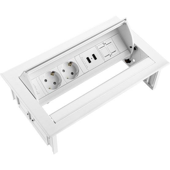 Ergopro Desk In - 2x power, 2x USB-A & keystone wit