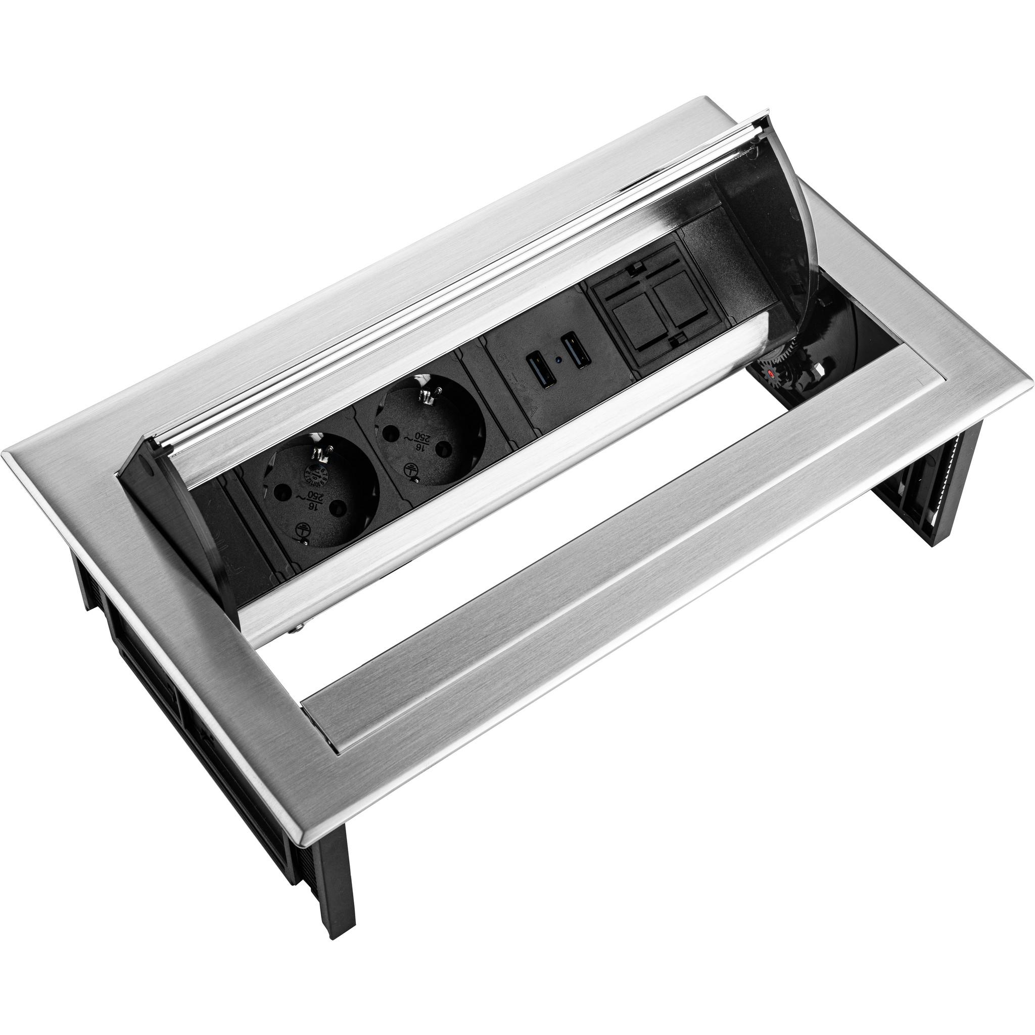 Ergopro Desk In - 2x power, 2x USB charger & 2x keystone zilvergrijs