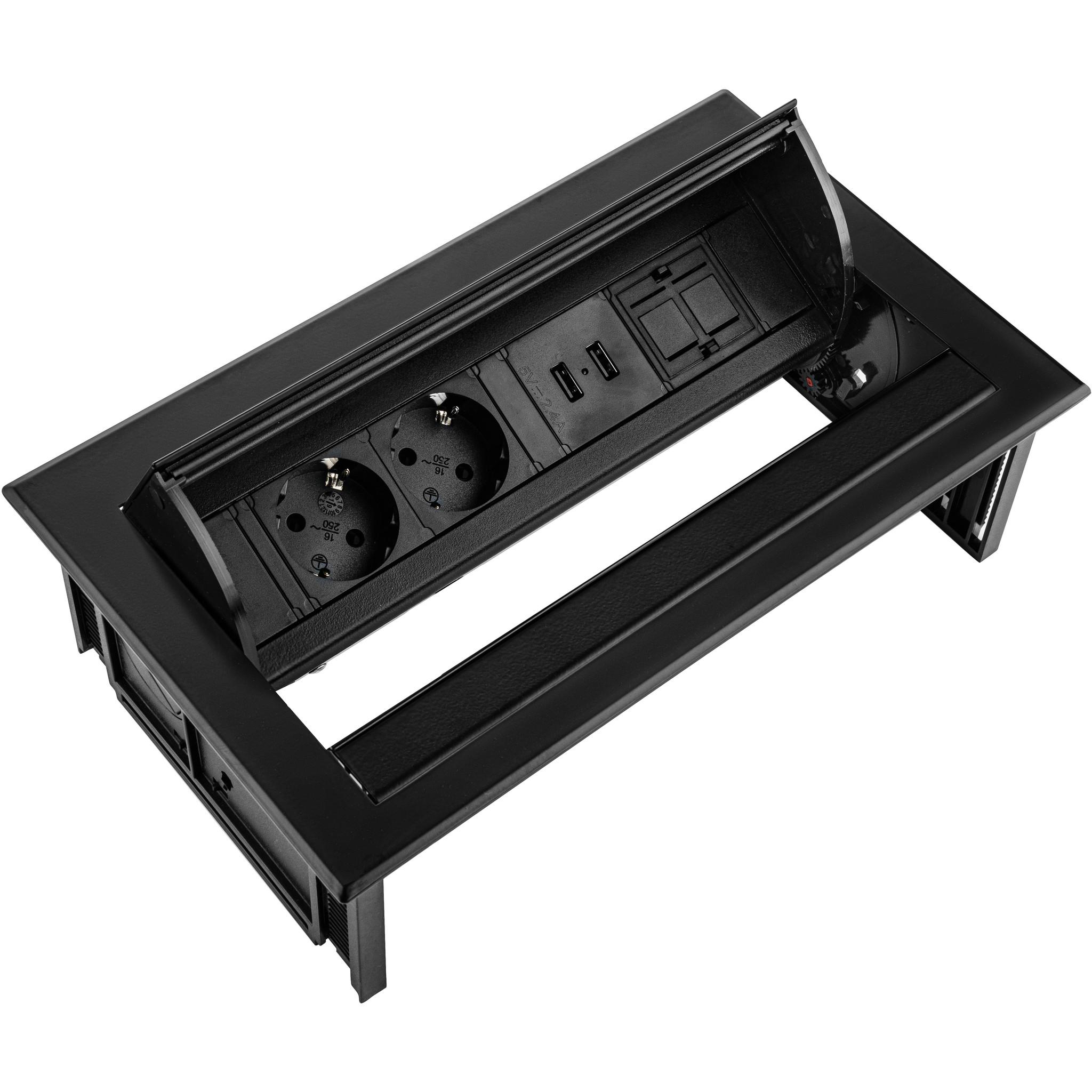 Ergopro Desk In - 2x power, 2x USB charger & 2x keystone zwart