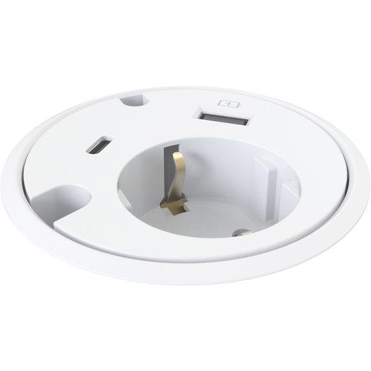 Powerdot Power met USB charger en USB-C Ø79 mm wit