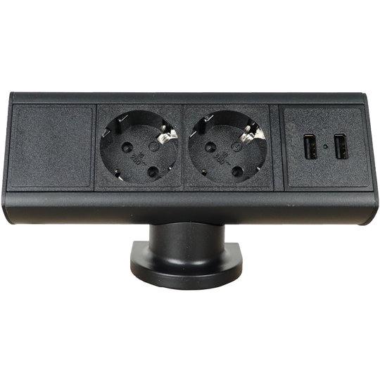 Axessline Desk - 2x power + 2x USB-A charger