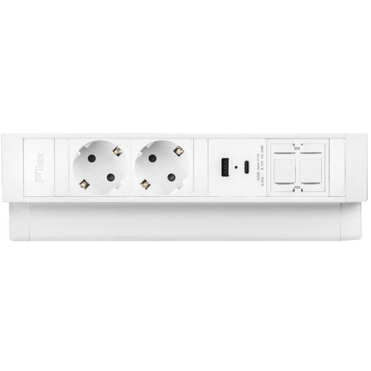 Ergopro Desk Up 2.0 - 2x 230V + USB-A/C charger & 2x keystone wit