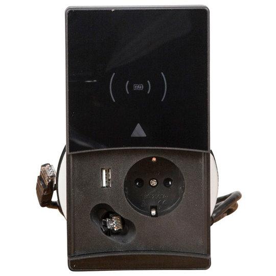 Ergopro QI-Charger stekkerdoos met 1x 230V + USB-A Charger & CAT 6 aansluiting