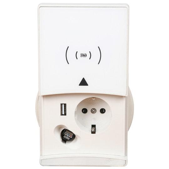 Ergopro QI-Charger stekkerdoos met 1x 230V + USB-A Charger & CAT 6 aansluiting wit