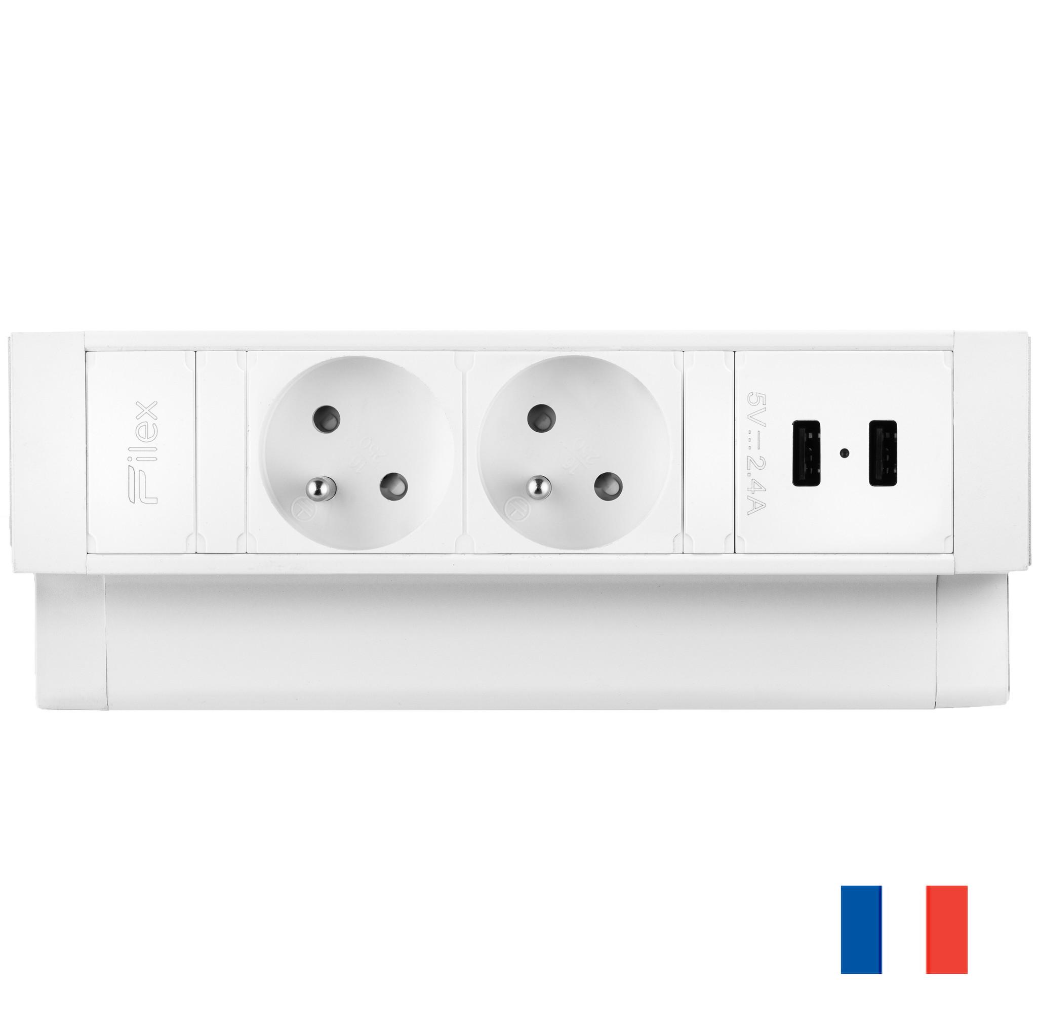 Ergopro Desk Up 2.0 - 2x penaarde power & 2x USB charger wit
