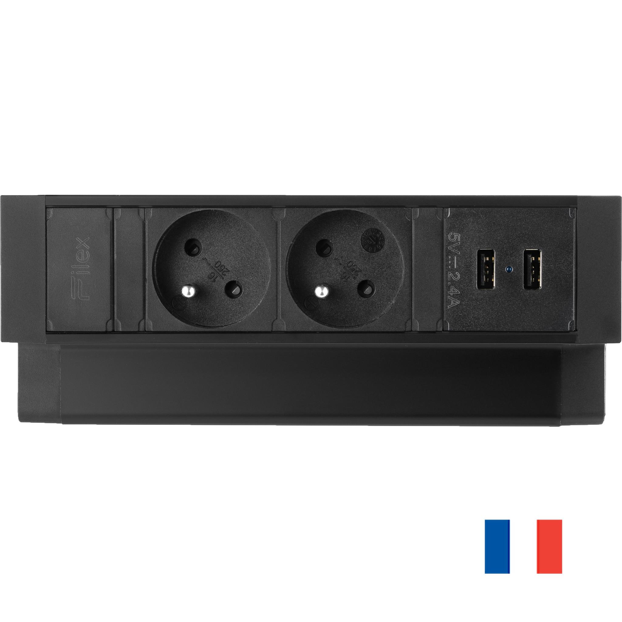Ergopro Desk Up 2.0 - 2x penaarde power & 2x USB charger zwart