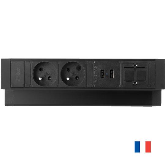 Ergopro Desk Up 2.0 - 2x penaarde power, 2x USB charger & 2x keystone zwart