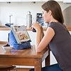 The Bookseat Boekenstandaard en tabletstandaard blauw