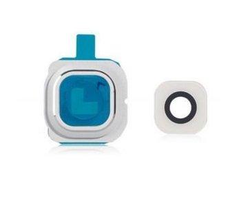 Camera lens cover glas voor Samsung Galaxy S6 Edge Wit/White reparatie onderdeel