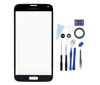 Scherm glas geschikt voor Samsung Galaxy S5 Zwart/Black display touchscreen met professionele complete toolkit/gereedschap