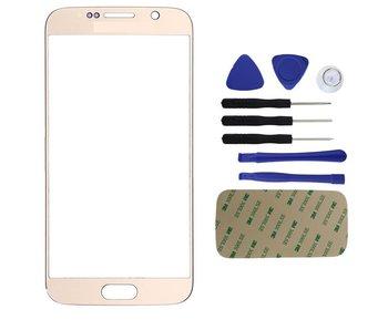 Front glas / scherm geschikt voor Samsung Galaxy S6 G920 Goud/Gold reparatie onderdeel + Tools + bevestiging sticker