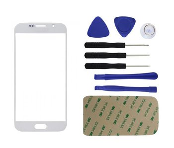 Front glas / scherm geschikt voor Samsung Galaxy S6 G920 Wit/White reparatie onderdeel + Tools + bevestiging sticker
