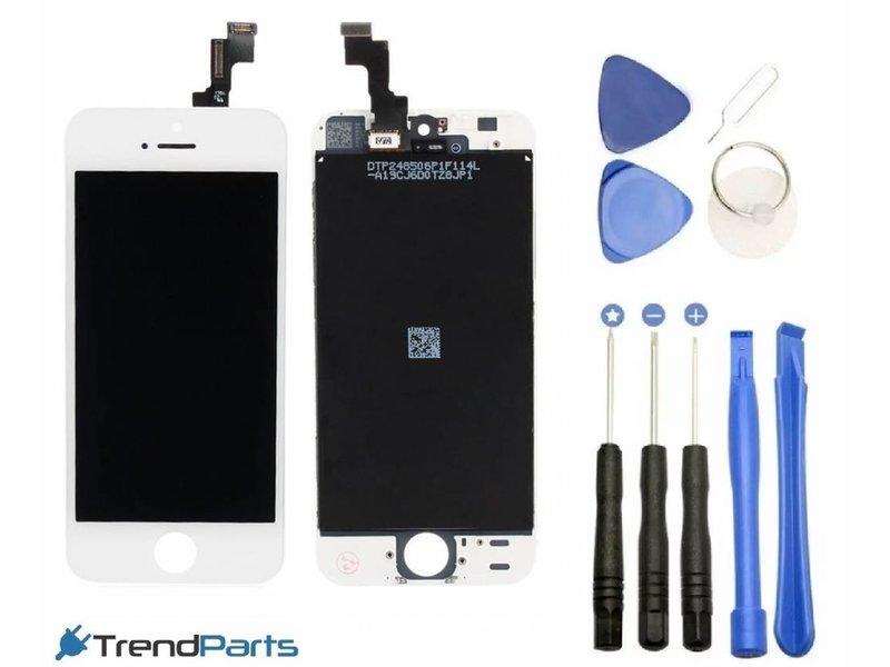 Compleet LCD scherm met touchscreen voor Apple iPhone 5 wit + toolkit + handleiding+ tempered glass screenprotector (white)