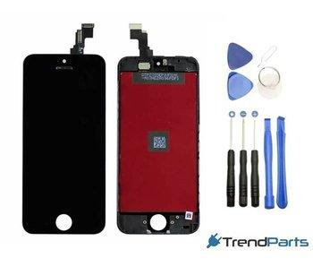 Compleet LCD scherm met touchscreen voor Apple iPhone 5C Zwart + toolkit + handleiding+ tempered glass screenprotector (white)
