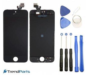 Compleet LCD scherm met touchscreen voor Apple iPhone 5S Zwart + toolkit + handleiding+ tempered glass screenprotector (white)