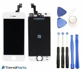 Compleet LCD scherm met touchscreen voor Apple iPhone 5S wit + toolkit + handleiding+ tempered glass screenprotector (white)